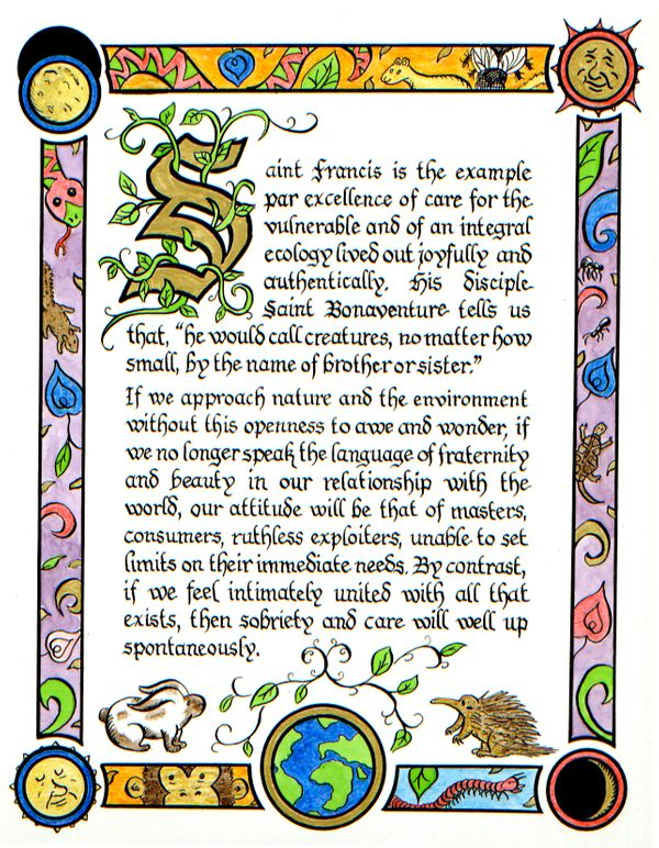 "Illuminated manuscript, depicting an excerpt from the ""Laudato Si"" encyclical, Pope Francis's call to environmental action"